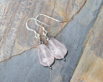 Rose Quartz Earrings, Sterling Silver Earrings, Pink Earrings, Natural Stone Earrings, Teardrop Earrings, Gemstone Earrings, Dangly Earrings