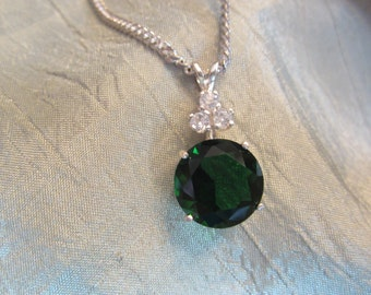 Deep Green 12mm Round Accented Created Topaz