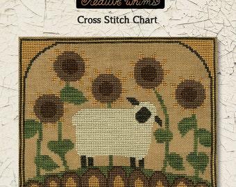 Cross Stitch Chart | Downloadable PDF | EPattern | Needlework | DIY | Crafts | Primitive | Sunflower Sheep | XS103