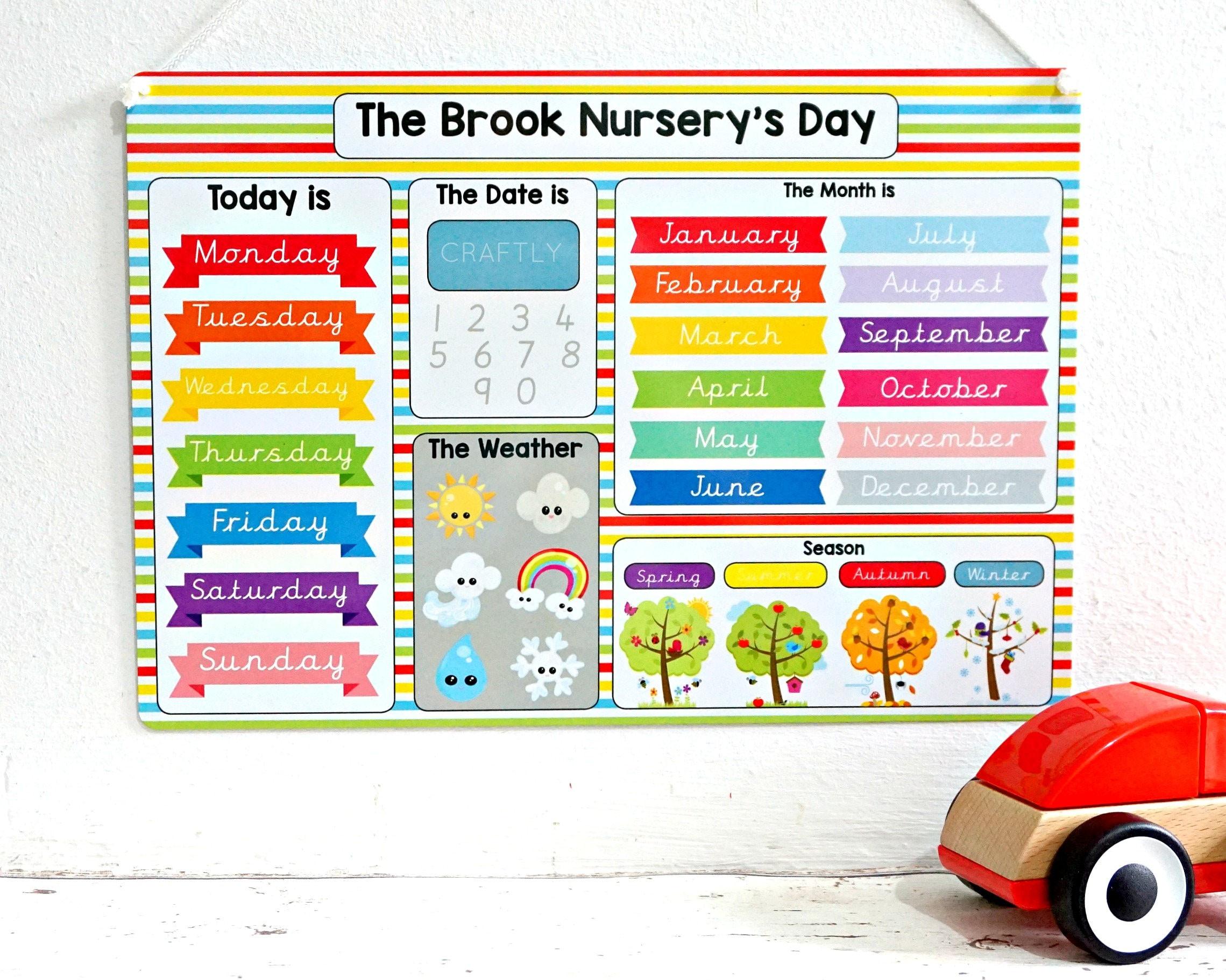 Children S Calendar Weather Chart : Childrens calendar kids routine educational learning