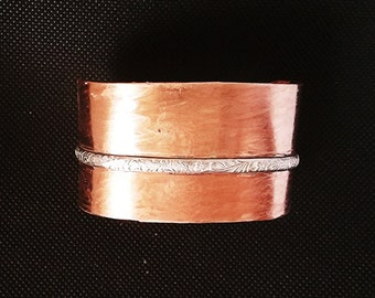 Wide Copper Cuff Bracelet, Copper Cuff, Wide Copper Cuff, Artisan Made in the USA, Artisan, Handmade, Gift, Gift for her, Sterling Silver
