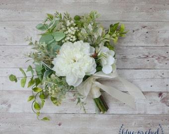 Silk Wedding Bouquet, Boho Bouquet, Bridal Bouquet, Greenery Bouquet, Silk Flowers, Artificial Bouquet, Wedding Flowers, Green, White, Cream