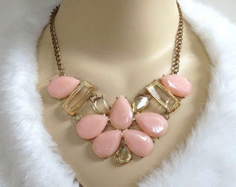 Pink & Topaz Glass Cabochons Bib Necklace Vintage