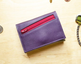 Minimalist Wallet for Women, Purple Leather Wallet with Coin Pocket, Trifold Card Cash Wallet, Gift Idea Her - The Frances in Ultraviolet