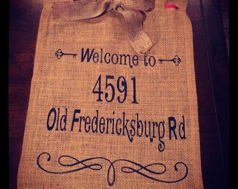 Burlap Welcome and Address Flag