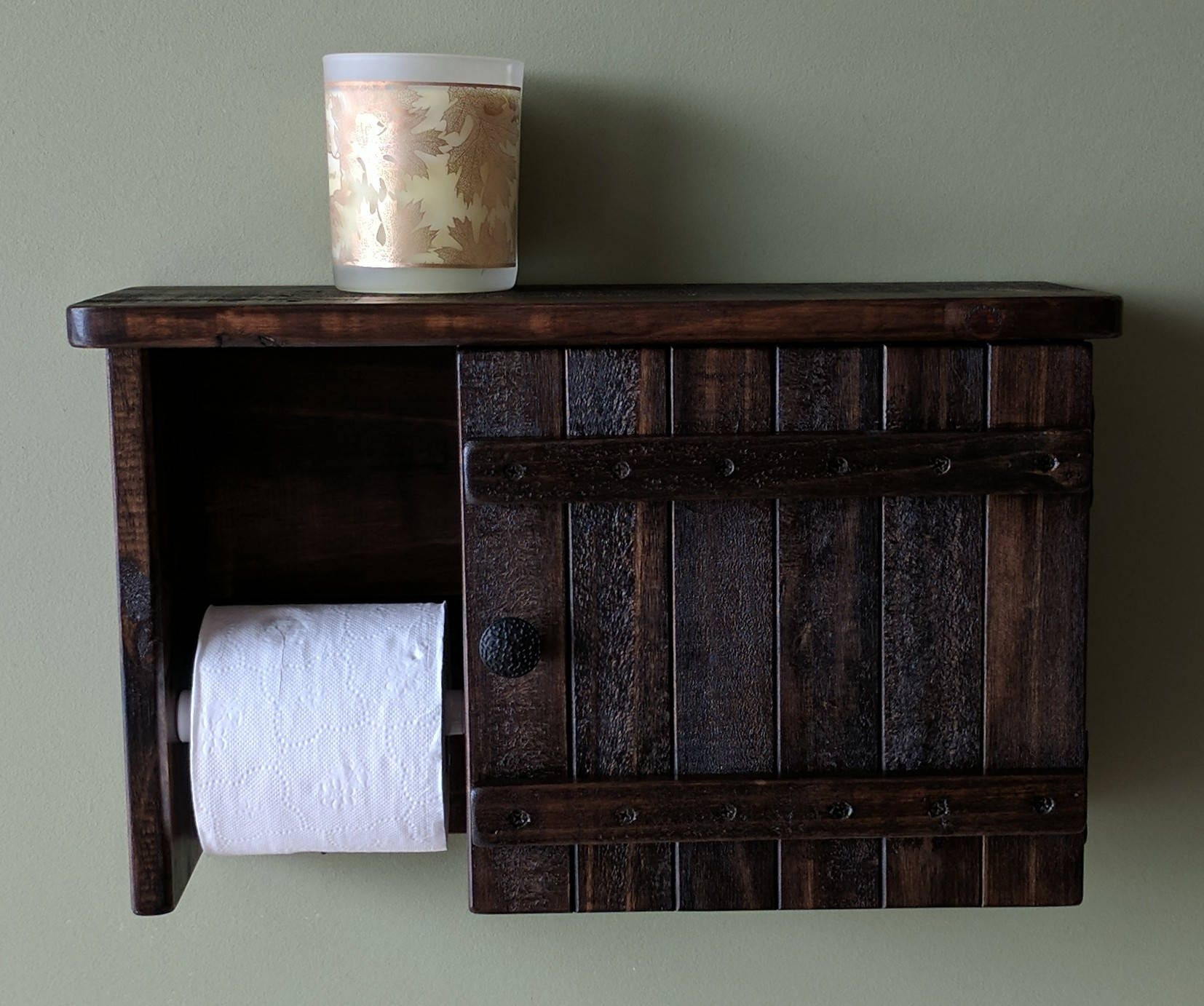 toilet paper holder cabinet with shelf made from rustic. Black Bedroom Furniture Sets. Home Design Ideas