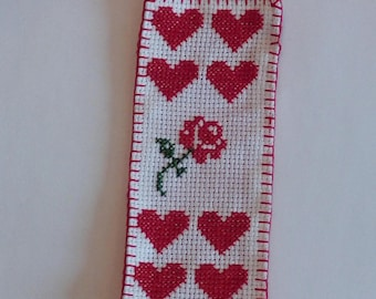 bookmark rose and little hearts, for Mother's Day
