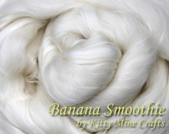 Undyed Banana Smoothie Roving - Ecru, 8 oz - 50/25/25 Superfine Merino, Milk, Banana - Spinning - Wool Top - Combed Top - Dyeable