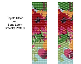 Hibiscus Bracelet Pattern -  Peyote Stitch Bracelet Pattern, Bead Loom Bracelet Pattern