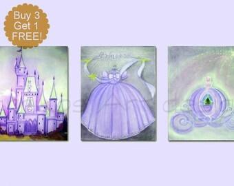 Princess Wall Art, Disney inspired, Cinderella Art, Purple, SET 3, Girl Nursery Decor, Princess Decor, Girl Nursery art, Princess room art