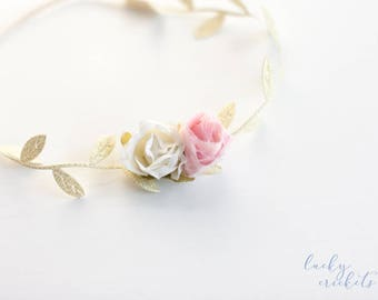 Pink Gold Headband, Infant Headband, Pink Flower Headband, Pink Gold Baby, Gold Leaf Headband, Newborn Headband, Baby Girl Headband