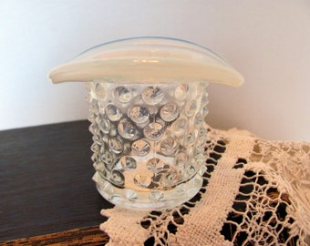 Fenton Hobnail Hat Toothpick Holder,  Fenton French Opalescent Hat