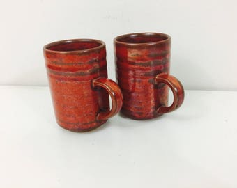 Set of Stoneware Coffee Mugs // Hand Thrown // Iron Oxide Red // Signed