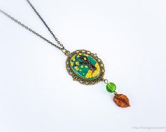 Tree cameo necklace, Polymer clay pendant, Tree pendant, Brass chain necklace, Autumn pendant, Fall pendant, Nature jewelry, Tree jewelry