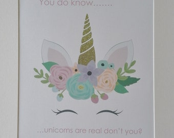 UNICORNS are Real KIDS bedroom print A4 pink aqua gold