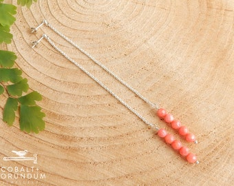 Long dangling earrings with pink coral | 5mm coral earrings