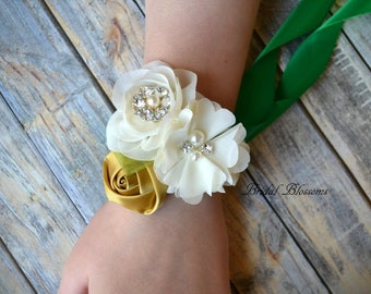 Ivory Gold Chiffon Satin Flower Wrist Corsage | Vintage Inspired Wedding | Mother of the Bride | Bridal Shower | Emerald Green Fall Autumn
