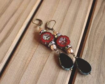 Ruby red and black picasso bead layered earrings, rhinestone and pearl accents, boho chic earrings, Valencia