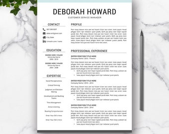 Resume Template Word, CV Resume Template, Cover Letter, Professional CV, Creative Resume Design, Modern Resume, Teacher Resume, DEBORAH