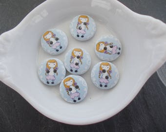 Blonde girl pattern wooden button