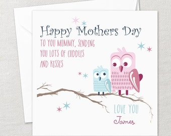 Personalised Happy Mothers Day Card Mum Mom Mommy Mummy Mother Love Owls Tree Branch Love Heart Hugs Cuddles Kisses Bespoke Unique