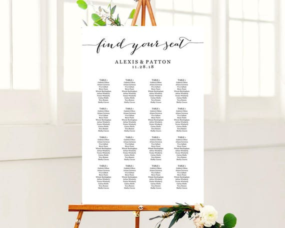 Wedding Seating Chart Template In Four Sizes  X X X