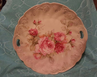 Vintage Handled German Cake Plate Embossed With Pink Floral Design and Scalloped Edges