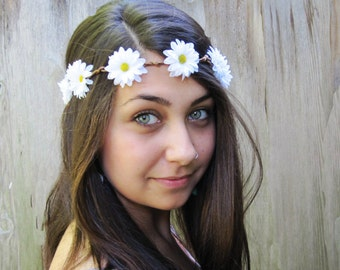 Daisy Headband, Hippie Headband, EDC, Hippie Costume, Daisy Crown, Daisy Flower Crown, Flower Crown, Hippie, Boho, Daisy Chain, Circlet