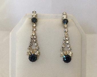 50% SALE Blue Rhinestone Earrings..Blue Dangle Earrings..Blue Crystal Earrings..Sapphire Earrings Vintage Rhinestone Jewelry 80s NOS