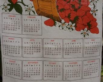 Retro Kitsch 1986 Calendar Tea Towel, Linen Kitchen Tea Towel Dish Cloth