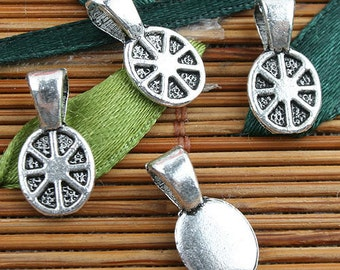 Alloy metal Tibetan Silver color texture pattern charms 60pcs EF0119
