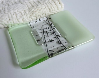 Fused Glass Soap Dish in Chalk and Pale Green by BPRDesigns