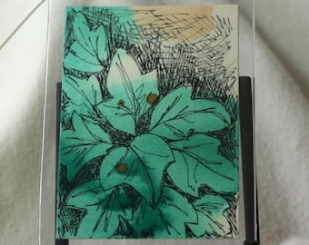 Green leaf watercolor aceo, gift tag with ribbon, abstract original art, botanical art aceo, sfa, pen and ink art, watercolor art