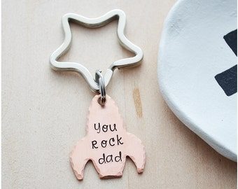 New Dad Christmas Gift - You Rock Dad Keychain - Hand Stamped Daddy Keyring - Gift for Dad - New Dad Gift - Copper Rocket Ship Keyring
