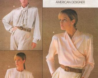 80s Calvin Klein Womens Blouses Wrap Blouse Blouse with Jabot Vogue Sewing Pattern 1792 Size 12 Bust 34 Suit Blouse Vogue American Designer