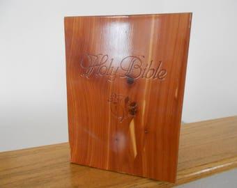 Vintage cedar bible case.  Cedar box.