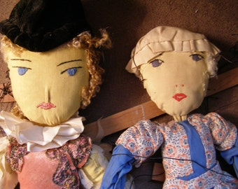 Antique WPA Cloth Marionette Puppets - The Prince and His Lady - 1930s