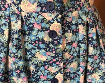 Vintage 1980s Watercolor Flowers Button Up Skirt