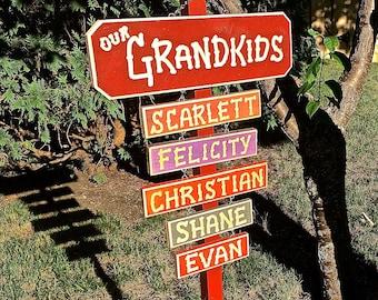 GRANDKIDS GRANDPA GRANDMA  Carved Wood Hanging Name Signs for Grandparents (38) Names (6 each)