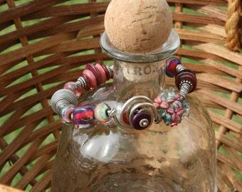 Artisan Boro Lampwork Bangle Bracelet with Sterling Silver