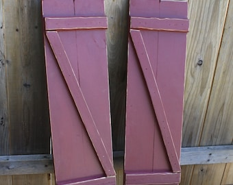 "1-Pair Of Unique Primtiques Distressed ""Z"" Barn Red Primitive 2 Foot Wood Shutters Custom Colors & Sizes Available"