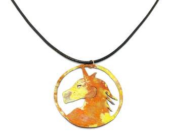 Copper Unicorn Pendant, Mythical Unicorn Necklace, Unique Birthday Gift, Magical Unicorn Pendant, Flame Painted Copper Necklace