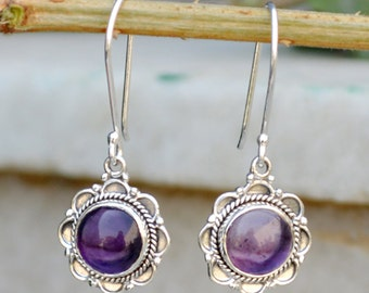 Natural Amethyst Earrings - Silver stone earring - amethyst gemstone silver earring - silver amethyst earring,Designer Gemstone earring NEW