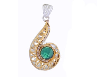 Faceted Indicolite, White Topaz Gold Plated Pendant