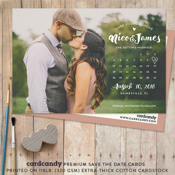 Calendar Save-The-Date Card Save The Date Postcard Save The