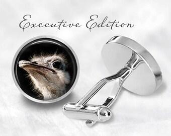 Ostrich Cufflinks - Ostrich Head Cuff Links - Bird Cufflink (Pair) Lifetime Guarantee (S1421)