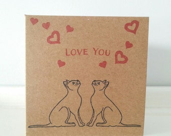 "Wedding Card / Engagement Congratulations Card: Kraft Card, with Black Cats under Heart Cloud. 4"" x 4"" Square Kraft Card."