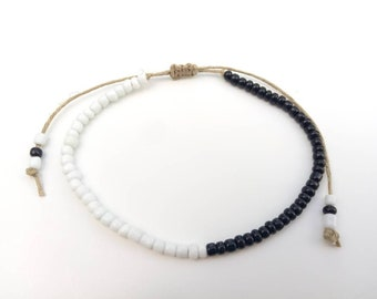 Black White Hemp Bracelet, Ankle Bracelet Hemp Anklet Hemp Jewelry Summer Jewelry Anklets Hemp Jewelry Adjustable Anklet Hemp Bead Bracelet