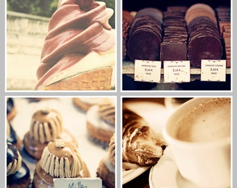 PARIS Collection Set of 4 Paris Prints Ganache Cafe au Lait Ice Cream, Milles Feuilles, Cake Paris Photography Square Prints, Brown, Caramel