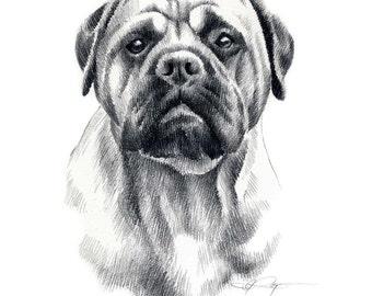 BULLMASTIFF Dog Art Print Signed by Artist DJ Rogers
